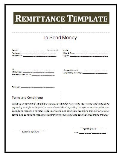 remittance template  business templates