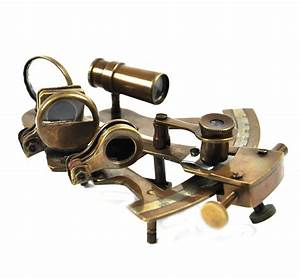 Antiqued Sextant With Wooden Presentation Box
