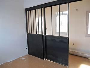 separation vitree avec porte coulissante bigood With porte de garage coulissante avec porte intérieure bois vitrée
