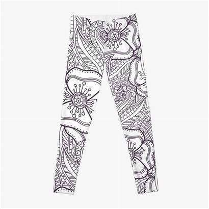 Leggings Coloring Redbubble Doodle Abstract Floral Pattern