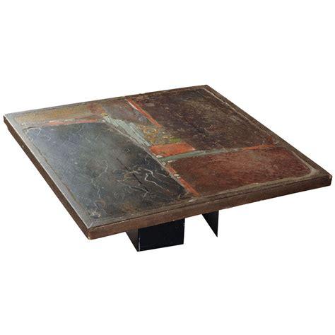 slate stone square coffee table by paul kingma signed