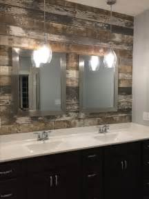 Bathroom Pendant Light Fixtures by Master Bath Vanity Sink Barn Wood Accent Wall And
