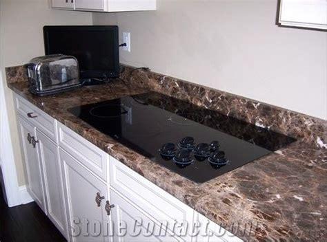 Dark Emperador Marble Kitchen Countertops, Kitchen Tops
