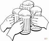Beer Cerveza Bier Anstossen Colorear Birra Colorare Kleurplaat Trinken Essen Disegni Dibujos Oktoberfest Brindis Jarras Oktoberfeest Feestdag Glass Boccali Desenho sketch template