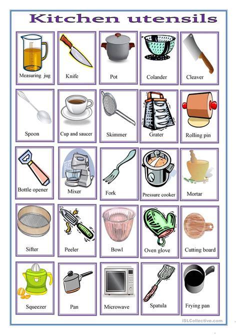 Kitchen Equipment Worksheet Answers by Kitchen Utensils Worksheet Free Esl Printable Worksheets