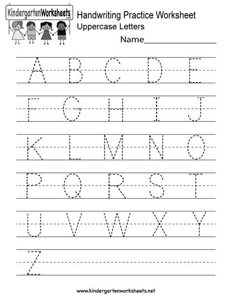 handwriting practice worksheet  kindergarten english
