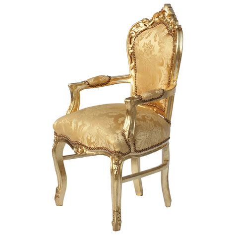 baroque armrest dining chair lea gold wooden frame