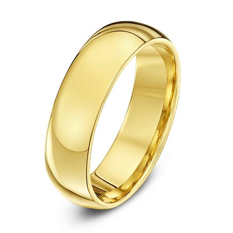9ct yellow gold heavy weight court shape 6mm wedding ring