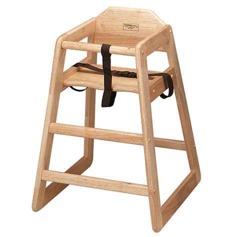 wooden high chair in a lovely finish for hire