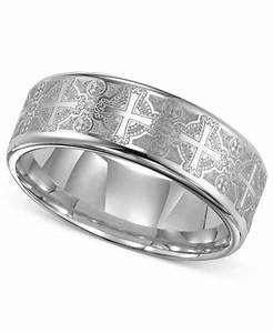 triton men39s tungsten carbide ring comfort fit etched With mens wedding rings with crosses