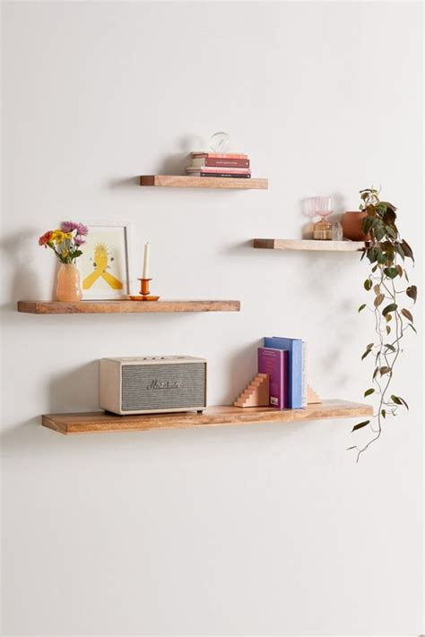 simple floating wood wall shelf urban outfitters
