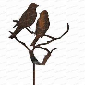 Decoration Jardin Metal : silhouette oiseaux sur branche d co de jardin en m tal ~ Teatrodelosmanantiales.com Idées de Décoration