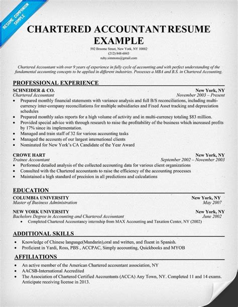 sle resume for chartered accountant resume ideas