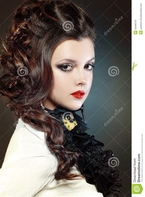 steampunk girl stock image image  hairstyle necklace