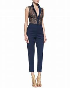 Lyst - Tamara mellon Sleeveless Lace u0026 Cotton Jumpsuit in Blue