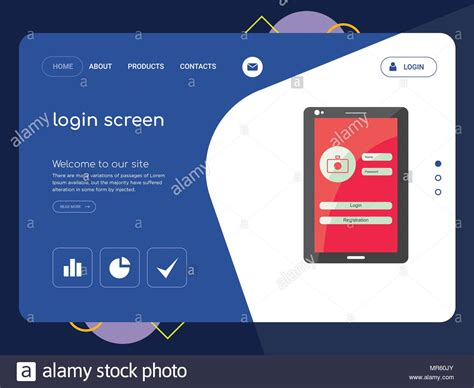 Quality One Page Login Screen Website Template Vector Eps
