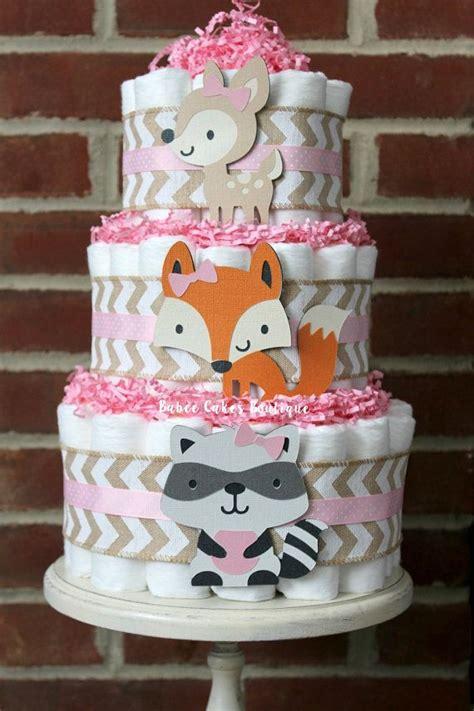 tier girls pink woodland animal diaper cake woodland