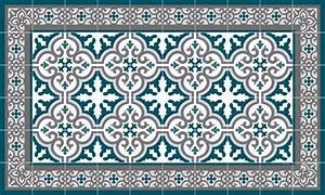 Tapis Salon Bleu Canard : tapis vinyle carreaux de ciment simone bleu canard ~ Melissatoandfro.com Idées de Décoration
