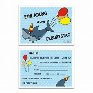 Kindergeburtstag 12 Jährige Jungs : hai geburtstag einladungskarten im set zu 10 st ck ~ Frokenaadalensverden.com Haus und Dekorationen