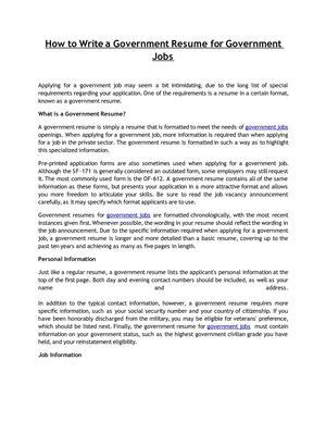 How To Write A Government Resume by Calam 233 O How To Write A Government Resume For Government