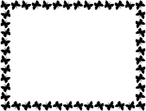 butterfly border black and white clipart butterfly frame black
