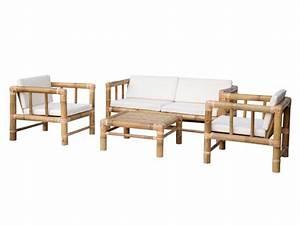 Canapé En Bambou : salon de jardin bohol ii en bambou 1 canap 2 places 2 fauteuils et 1 table basse ~ Melissatoandfro.com Idées de Décoration