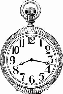 Drawn pocket watch clip art - Pencil and in color drawn ...