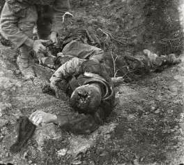 A German soldier who has been hit by an airplane dart. Som ...