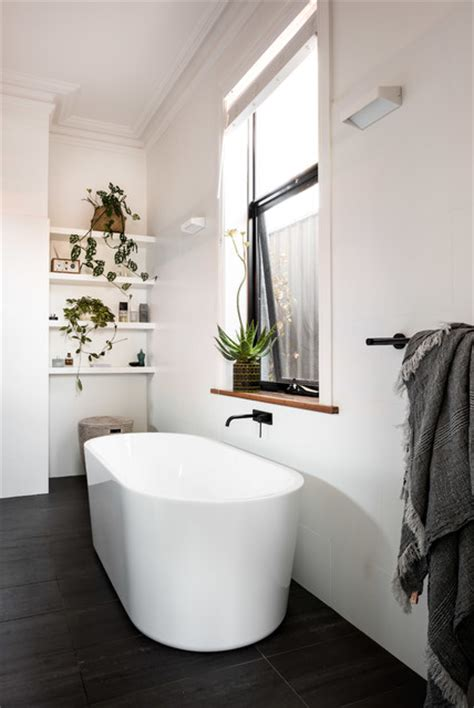 contemporary ensuite  freestanding bath scandinavian