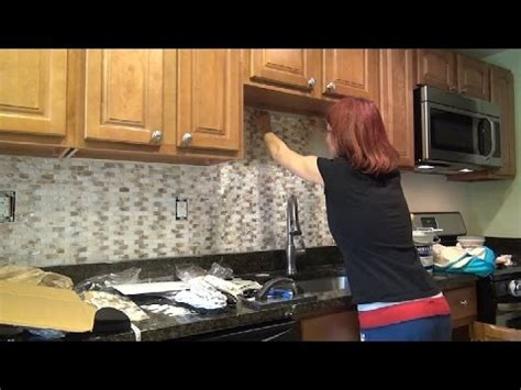 diy kitchen backsplash installation of pearl tile