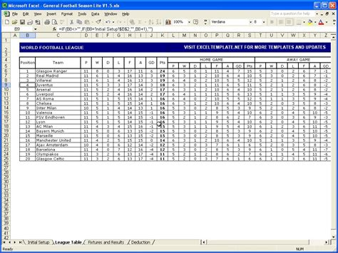 darts league excel spreadsheet  regard  football