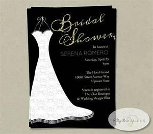 Gold wedding wedding dress bridal shower invitation for Black and gold wedding shower invitations