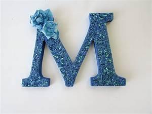 custom name letter blue glitter letter blue letter m With glitter name letters