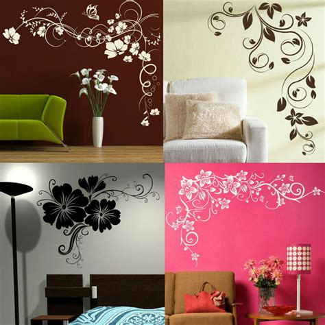 home decor stickers corner flower wall stickers interior home floral