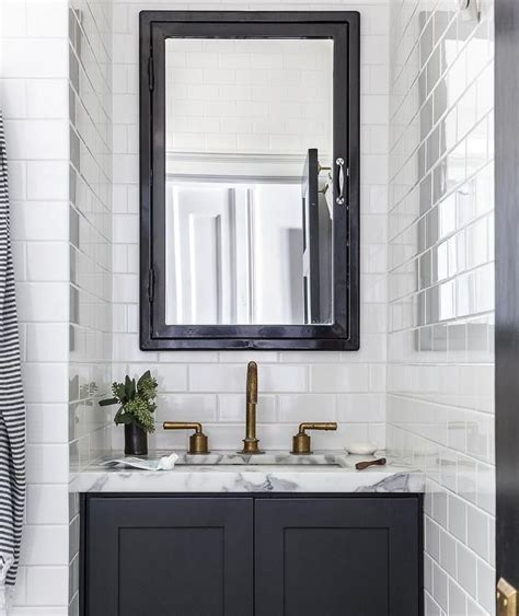 Black Bathroom Mirror Cabinet by Gorgeous Black And White Contemporary Bathroom Boasts A