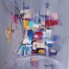 Toile Blanche A Peindre : peinture moderne acrylique multicolore gris rouge violet ~ Premium-room.com Idées de Décoration