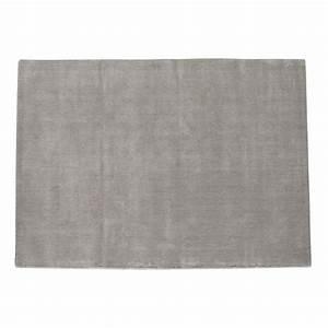 Tapis a poils courts en laine gris 250 x 350 cm soft for Tapis gris poil court