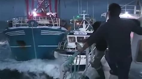 French Fishing Boat Attack by Scallop Wars French Fishermen Attack British Boats In
