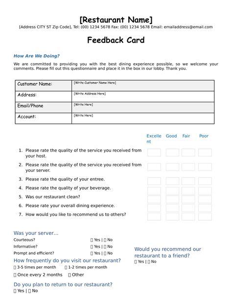 guest feedback form for restaurant 9 restaurant form templates pdf word