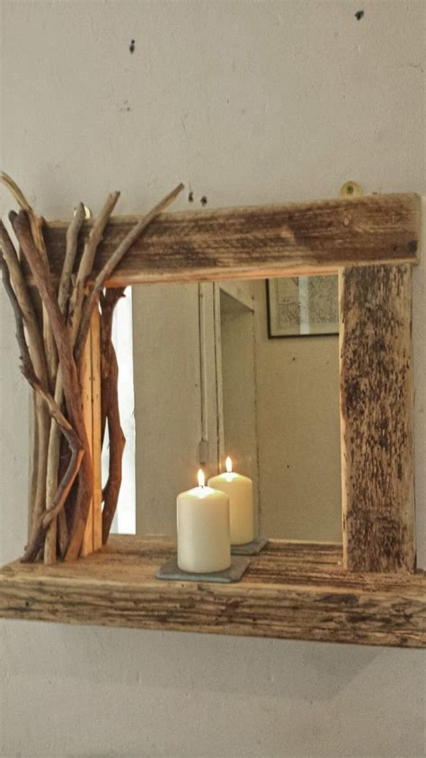 rustic reclaimed driftwood farmhouse mirror  shelf  decorated frame  home furniture