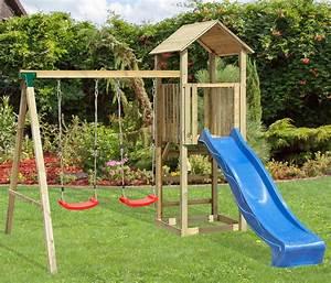 Portique De Jeux : balan oire portique enfant aire de jeux en bois ~ Melissatoandfro.com Idées de Décoration