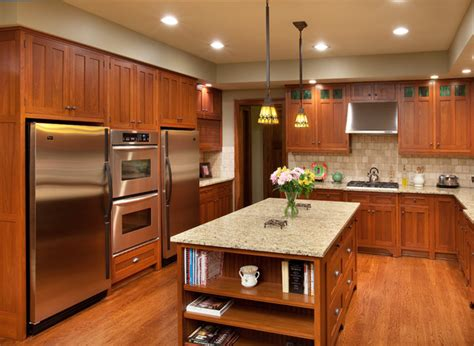 Brazilian Koa Flooring With Cherry Cabinets by Craftsman Home Craftsman Kitchen Columbus By