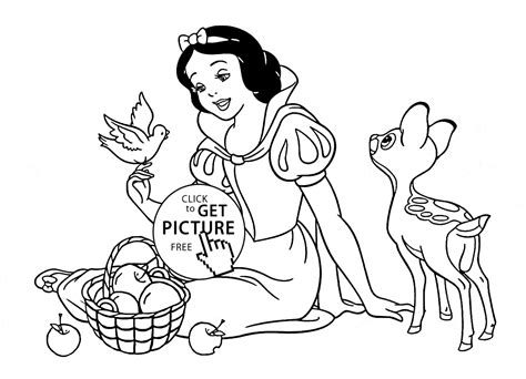 Disney Princess Snow White With Animals Coloring Page For