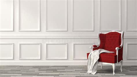 Poltrona Rossa In Una Casa Classica Di Lusso Illustrazione