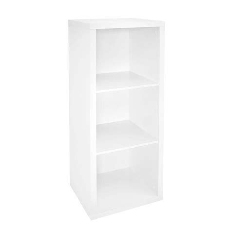 closetmaid stackable 3 cube organizer white closetmaid 16 in w x 44 in h decorative white 3 cube