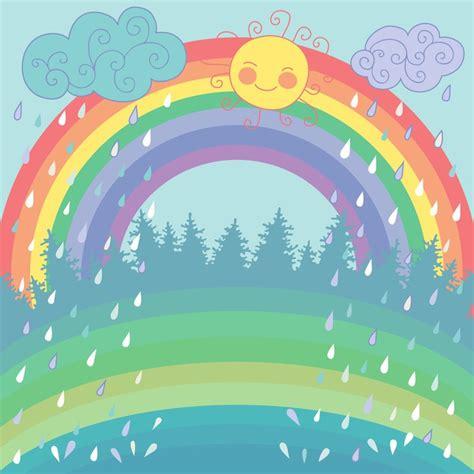papiers peint cuisine sticker fond coloré avec un arc en ciel la pluie le