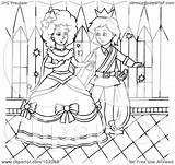 Cinderella Outline Coloring Prince Dancing Royalty Clipart Illustration Rf Bannykh Alex Copyright Regarding Notes sketch template