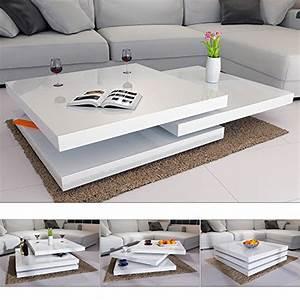 Tischplatte Hochglanz Weiß : couchtisch wohnzimmertisch hochglanz beistelltisch tisch sofatisch tischplatte 360 drehbar ~ Buech-reservation.com Haus und Dekorationen