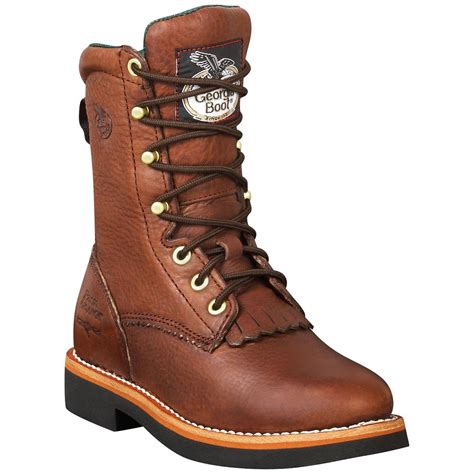 Georgia Womens Walnut Leather Lacer Work Boots