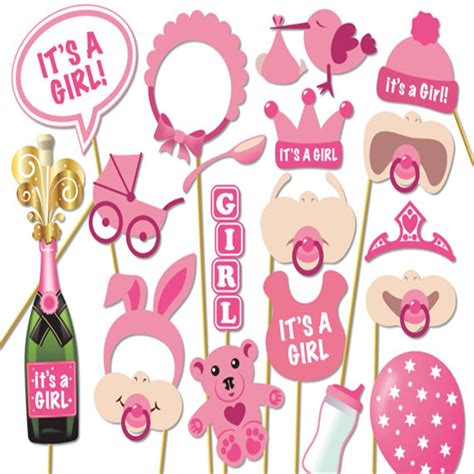 baby shower   girl pink photo booth props baby girl